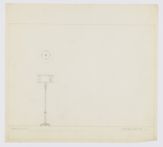Design for floor lamp. Two-tier circular base supported by four spherical feet from which extends short composite column capped above and below by disk. From upper disk extends tubing whose top is ornamented by three streamlines in same material as composite column. These support tulip-shaped socket and squat cylindrical shade. Above, object shown in plan. Margins ruled in graphite.