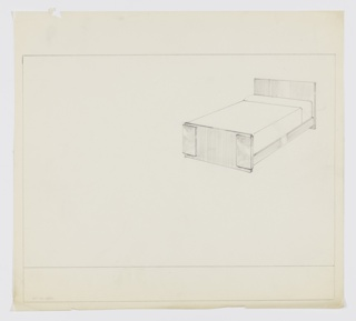 Design for bed. At upper right, perspective drawing of bed with planar headboard that extends to ground to serve as rear support. Headboard connected by rectilinear side rails to footboard; either side of footboard decorated with rectangular plans in contrasting materials that wrap exterior edges. Margins ruled in graphite.