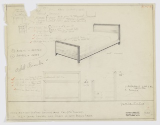 Drawing, Design for Bed with Secondary Sketches and Notes