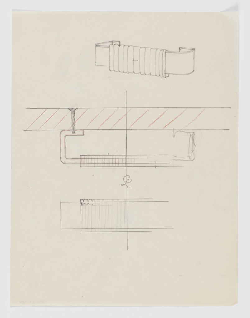 Design for wrapped drawer pull. Above, rough perspective sketch shows open-frame rectangular pull with segmented back edge; at center, plan describes how rear segments would be affixed to drawer front by screw. Anterior edge of pull wrapped in contrasting material (possibly wicker or leather). Below, rough front elevation describes texture of wrapped surface.