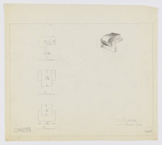 Design for drawer knob. At upper right, perspective shows semi-oblong volume, possibly in burl wood, whose front lip curls down over secondary material, probably metal, onto which it is set. This piece is an L-shaped bracket. At upper left, side elevation; center left, plan; lower left, front elevation, each with dimensions. Margins ruled in graphite. Inscribed with Deskey No. 6225.