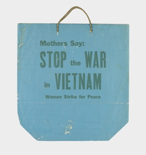 Printed in green on a teal background: Mothers Say: / STOP the WAR /  in VIETNAM / Women Strike for Peace.