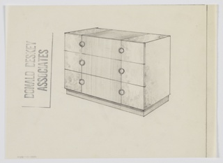 Design for chest of drawers shown in perspective. Recessed base supports carcass in burl wood with central accent panel in alternate material running up center of front and top surface. Three drawers in burl each with pair of circular pulls.