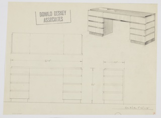 Design for pedestal desk. Top features down-curving front edge and is in reflective material, possibly lacquer or Bakelite. Same material appears as trim between drawers as well as on recessed base. Drawer fronts and sides in lighter wood; pedestals consist of four-stack of drawers. Additional central drawer over leg space. Also shown in plan and front and side elevation.