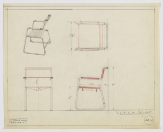"""Design for armchair seen in perspective, plan, and elevations. Tubular metal frame features trapezoidal legs on either side with rear stretcher; a length of fabric hangs between two legs to serve as seat (below which two """"spreaders"""" are positioned to maintain shape) with additional sling serving as back. Arms cantilever rearward and feature rectangular wooden armrests. Inscribed with Deskey No. 6214."""