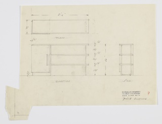 Design for bookcase with cabinet. At lower left, front elevation shows rectilinear object with cabinet with rectangular pull at right, supported by base, with two longer bookshelves at right, supported by U-shaped tubular metal. Shelves open at right. Also shown in plan and side elevation. Inscribed with Deskey No. 7408.