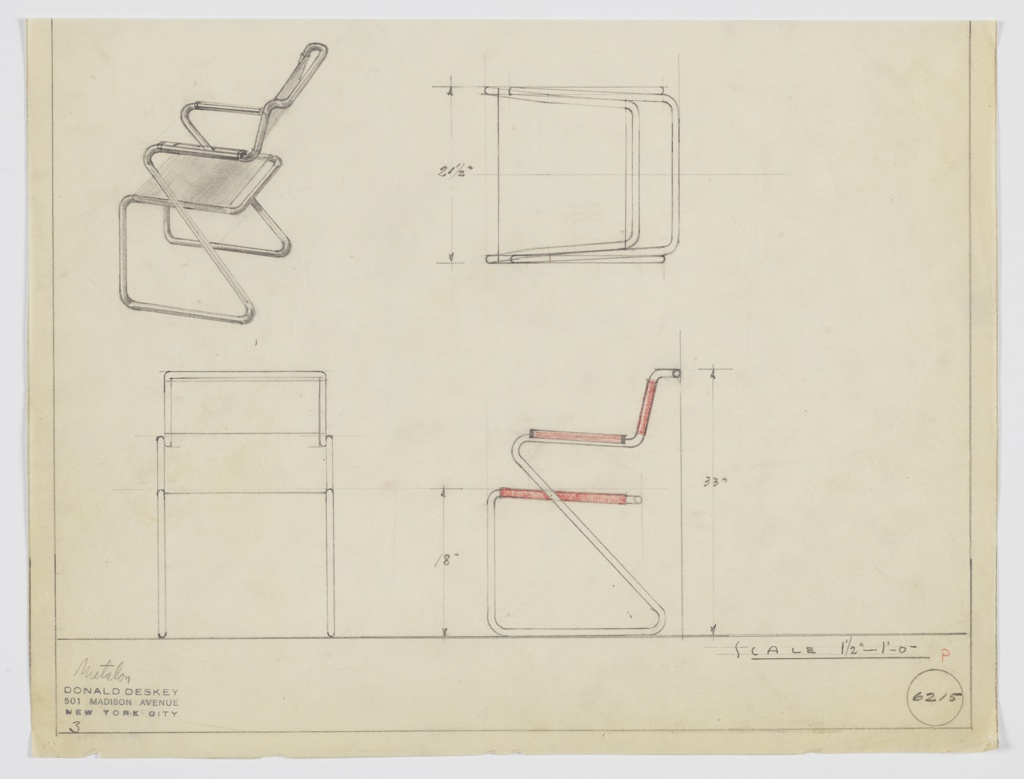 Design for armchair. At upper right, perspective shows frame of seemingly continuous tubular Metallon with right angles at front and acute angle at rear, crossing object depth to support seat and arms, which angle up at rear to hold sling seatback. Seat is also a sling; arms feature rectangular armrests. Also shown in plan and elevations. Inscribed with Deskey No. 6215.