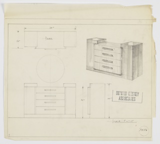 Design for chest of drawers. At upper right, perspective shows rectilinear object with taller cabinets on either side, accessed by medially positioned vertical pulls. At center, shorter volume in different material features four stacked drawers with rectangular pulls set slightly out from plane of flanking cabinets. Also shown in plan and front and side elevations. Inscribed with Deskey No. 7856.