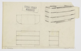 Design for chest of drawers for Roxy's apartment at Radio City Music Hall. At upper right, object shown in perspective: rectangular base at center supports three drawers that span beyond base width. These have curved front corners and feature drawer fronts in light wood that contrast with dark, recessed streamlines in another material. These and top surface, as well as secondary, stepped top surface, are dark and reflective. Also shown in plan and front and side elevations.