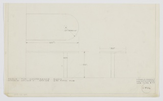 Design for conference table for Donald Deskey Office at 630 Fifth Avenue, New York, NY. Object shown in plan and front and side elevations. Oblong table affixed or abutting wall at left is supported at right by cylindrical column; left side features curved edge. Inscribed with Deskey No. 6406.