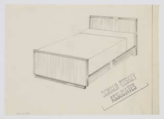 Design for bed shown in perspective. Planar head- and footboards in light, striated wood with trim in darker, reflective material. At rear, headboard extends to grown to elevate bed, while at front footboard rests on wide foot in dark material. Sideboards in light wood, also planar.