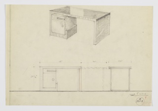 Design for desk. At upper center, perspective shows rectilinear desk with top surface, possibly black lacquer, angling downward at right to form support. At right, stack of drawer and cabinet in burled wood wrapped by striated wood that extends down from surface and angles upward toward center. Below, object seen in front and side elevation. Inscribed with Deskey No. 7118.