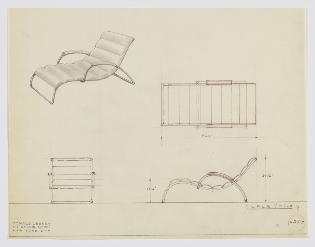 Drawing, Design for Upholstered Chaise Longue