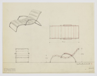 Design for upholstered chaise longue. At upper left, perspective shows chaise with tubular metal frame: at rear, arms arc forward from base and are accented with upholstered armrests. Seat and back comprised of semi-oblong upholstered volumes that create overall scalloped effect. Also shown in plan and elevations. Inscribed with Deskey No. 6257.