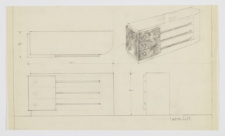 Design for chest of drawers. At upper right, object shown in perspective: rectilinear carcass with rounded front-right corner. At right, secondary material wraps corner and three left drawer fronts; these accessed by recesses with circular knobs. At right, drawers in primary material accessed by tubular bars that extend from left drawer and curve inward at right. Also shown in plan and front and side elevations.