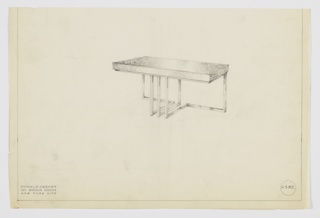 Design for console table shown in perspective at center. Rectangular volume in burl wood supported by square metal tubing frame that wraps perimeter above, angles downward against wall at rear before angling to center where three anterior legs extend downward and connect with sides and rear central support. Inscribed with Deskey No. 6382.