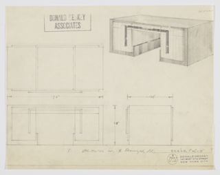 Design for desk in oriental walnut and ebonized wood(?). At upper right, perspective shows substantial rectilinear pedestal desk. Pedestals formed by stack of cabinets and shallow drawers in place with central drawer; all accessed by strip of ebonized material forming three-sided rectangular shape. Top surface appears to wrap sides and angle inward to serve as base before angling upward again and end at one-third height of interior. Also shown in plan and front and side elevations. Inscribed with Deskey No. 7339.