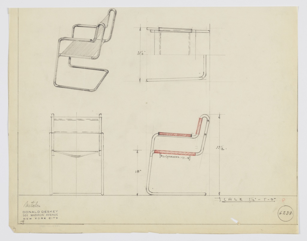 """Design for Metallon armchair seen in perspective, plan, and elevations. Tubular metal frame of continuous construction supports sling seat and back. Arms feature rectangular mounted armrests. Below seat two """"spreaders"""" are positioned to maintain shape. Seat cantilevers back from front of frame. Inscribed with Deskey No. 6238."""