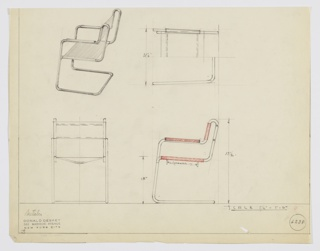 "Design for Metallon armchair seen in perspective, plan, and elevations. Tubular metal frame of continuous construction supports sling seat and back. Arms feature rectangular mounted armrests. Below seat two ""spreaders"" are positioned to maintain shape. Seat cantilevers back from front of frame. Inscribed with Deskey No. 6238."