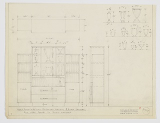 Design for display cabinet with drawers in oriental walnut and black lacquer. At lower left, front elevation shows rectilinear cabinet with stepped elevation. Central volume features shelves above, shown with trophies of various sizes positioned within. Below, open shelf and double stack of drawers. Flanked on either side by shorter open shelves with cabinets concealing additional shelves below. Resting on black lacquer foot, with black lacquer pulls, and open spaces in black lacquer. Above, object shown in plan; at upper right, trophy dimensions given. Inscribed with Deskey no. 7773.
