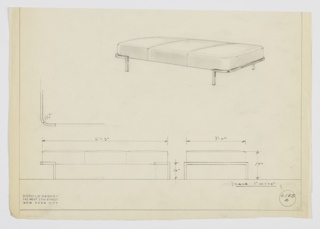 Design for low upholstered bench shown in perspective, elevations, and plan detail. Oblong, three-cushion bench supported by square metal tubing that wraps short sides before angling down to floor as legs. Inscribed with Deskey No. 6158 B.