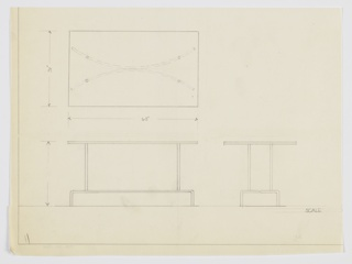 Design for side table shown in plan, front and side elevations. Rectangular top, possibly glass, supported by four tubular metal rods positioned on inward-curving tubular legs that angle downward on either side to reach the floor.