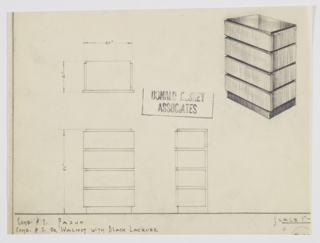 Design for chest of drawers in in padauk or walnut with black lacquer. At upper right, object shown in perspective: rectilinear object features darker primary volume—likely black lacquer—that is slightly recessed from drawers in padauk or walnut which appear to wrap the carcass. These accessed by way of wide drawer fronts which extend outward on either side. Also shown in plan and front and side elevations. Inscribed with Deskey No. that has been cut off.