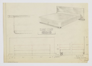 Design for bed. At upper right, object shown in perspective: wide planar headboard in burl wood rests on wide oblong foot. Hidden siderails supported at front by second wide oblong in darker material. Footboard features castors and headboard features bullet casters. Also shown in partial plan, front elevation, and partial side elevation with castor details. Inscribed with Deskey No. 787[?].
