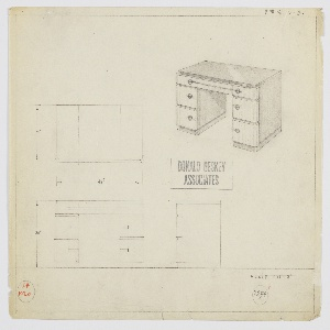 Design for desk for manufacture by Valentine-Seaver/Kroehler. At upper right, perspective shows symmetrical, rectilinear pedestal desk with top and sides in dark material (possibly lacquer or Macassar ebony) and drawer fronts in lighter, vertically striated wood. On either side, stack of three drawers; top drawers are shallow and in plane with central drawer. All accessed by cylindrical pulls. Also shown in plan and front and side elevation.  Inscribed with Kroehler No. 1020 and Deskey No. 7294.