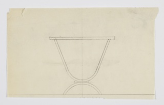 Design for side table shown in elevation. Tabletop of indeterminate shape supported by inverted parabolic, probably rectangular metal tubing, length poised atop arc in same material; metal cylinders accent outside seam where these elements meet.