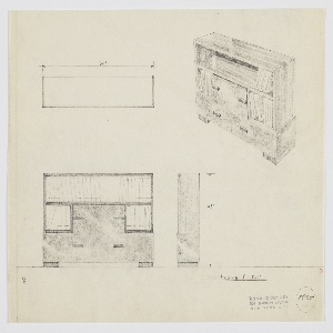 Design for bookcase with drawers. At upper right, object shown in perspective: above, long open shelf in striated wood with two additional open shelves below at sides. Between these, a drawer in burled wood with pulls on either side at center and two additional drawers side-by-side below. Object  rests on two rectangular feet in striated wood. Also shown in plan and front and side elevation below at left. Inscribed with Deskey No. 8065.