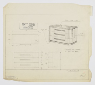 Design for chest of drawers. At upper right, perspective shows rectilinear object with curved front-right corner. Base, left side, and top in English oak burl while drawer fronts and right side in white Hollywood. Three drawers stacked and accessed by horizontal rectangular pulls in polished chromium. Also shown in plan and front and side elevations. Inscribed with Deskey No. 7912.