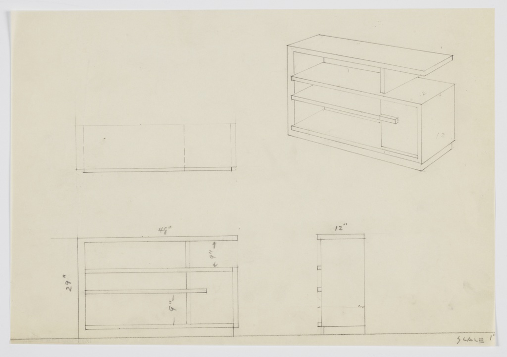 Design for shelves with small cabinet. At upper right, perspective shows sideways U-shaped frame into which secondary U-shape facing other direction is set. At left, three open shelves formed by overlapping planes with vertical support at upper right; below, at right, a small cabinet with horizontal pull. Also shown in plan and front and side elevation.