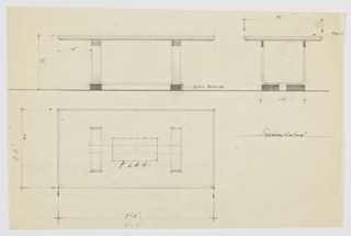 Design for dining table shown in plan and front and side elevations. Rectangular tabletop in frosted glass supported by U-shaped, wide straps positioned on parallel rectangular black Bakelite feet; additional wide strap serves as stretcher.