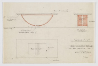 Design for dining table for Clarisse Coudert Nast apartment in New York, NY. Object shown in plan, front elevation, and crossed-out side elevation. Rectangular tabletop of black Formica supported by brushed chrome plinth. This is supported by wide semi-circular strap-style lengths of red lacquer on long sides. At base, these rest on rectangular Formica base and secured by three brushed chrome straps. Inscribed with Deskey No. 7160 and commission/designer information.