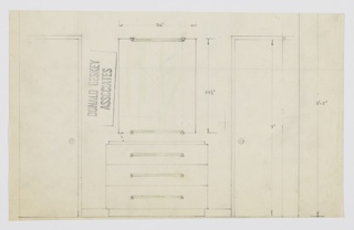 Design for a dresser with mirror. At center, object shown in front elevation against wall between two doors. Rectilinear object on recessed base; three drawers accessed by horizontal rectangular glass or plastic pulls positioned below recessed top. Above, rectangular mirror hung vertically with glass mounts matching pulls above and below.