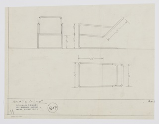 Design for cantilevered armchair seen in front and side elevations and plan. Tubular metal frame with upright supports at front extends rearward along floor line to stabilize seat, which angles slightly downward and is met by back-leaning seatback—both of stretched textile. Arms formed by metal frame, as well. Inscribed with Deskey No. 6359.