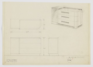 Design for chest of drawers for Emil Schwartzhaupt's apartment at the Hotel Pierre in New York, NY. At upper right, object shown in perspective: three drawers with curved front-right corner hang over front and side of base in darker material and are accessed by recessed rectangular pulls. At left, cabinet in same material as base rises to support square top surface, which steppes down toward larger surface in same material as drawers. Also shown in plan and front and side elevations. Inscribed with Deskey No. 7916.