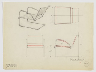 Design for cantilevered armchair seen in perspective, plan, and elevations. Tubular metal frame stabilized at rear with upright front legs supports down-curving arms wrapped in textile; secondary piece of frame affixed to first and holds stretched textile seat and back. Inscribed with Deskey No. 6341.