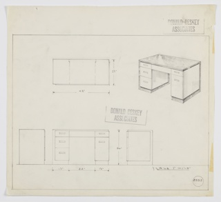 Design for pedestal desk. At upper right, perspective shows asymmetrical rectilinear object: left pedestal is triple-stack of drawers; right is double stack with tall lower drawer. Top drawers are shallow and in place with central plan or concealed-access drawer. Top surface in darker, reflective material that wraps left side and rear, as well as slightly recessed base. All pulls are rectangular and horizontal. Also shown in plan, front elevation, and side elevations. Inscribed with Deskey No. 8333.