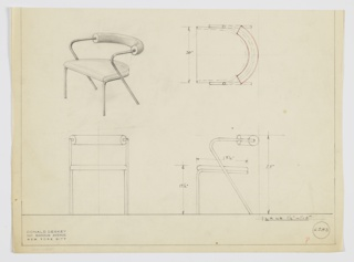 Design for upholstered armchair shown in perspective, plan, and elevations. Demilune upholstered seat supported by pair of front legs that curve around rear of seat and rear legs that angle upward then back and are wrapped in tubular upholstery to create seatback. Inscribed with Deskey No. 6283.