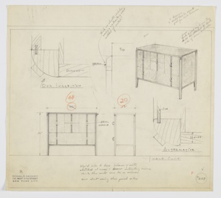 Design for chest of drawers in wood or metal. At upper right, perspective shows rectilinear object with rounded outside corners. Object stands on composite legs. Below, two drawers; above, two square drawers on either side of two-drawer stack. All drawers feature contrasting stripe at center and vertical, arched pulls in metal. Also shown in front and side elevation with corner details in plan. Throughout, notes and dimensions. Inscribed with Deskey No. 7607.