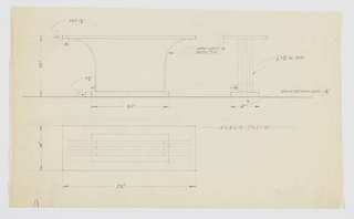 Design for console table seen in front and side elevations and plan. Rectangular top supported by outward-curving trio of metal straps that connect by way of horizontal bars below, positioned atop smaller rectangular plinth.