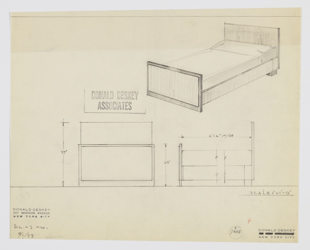 """Design for bed. At upper right, perspective shows bed with planar head- and footboards; the latter features trim in darker material and supports front end of bed, while at rear it is supported by wide foot in same dark material. Sideboards also in light material. Also shown in front and partial side elevations. Inscribed with Deskey No. 7445 and """"BL.-S.W."""" in graphite."""