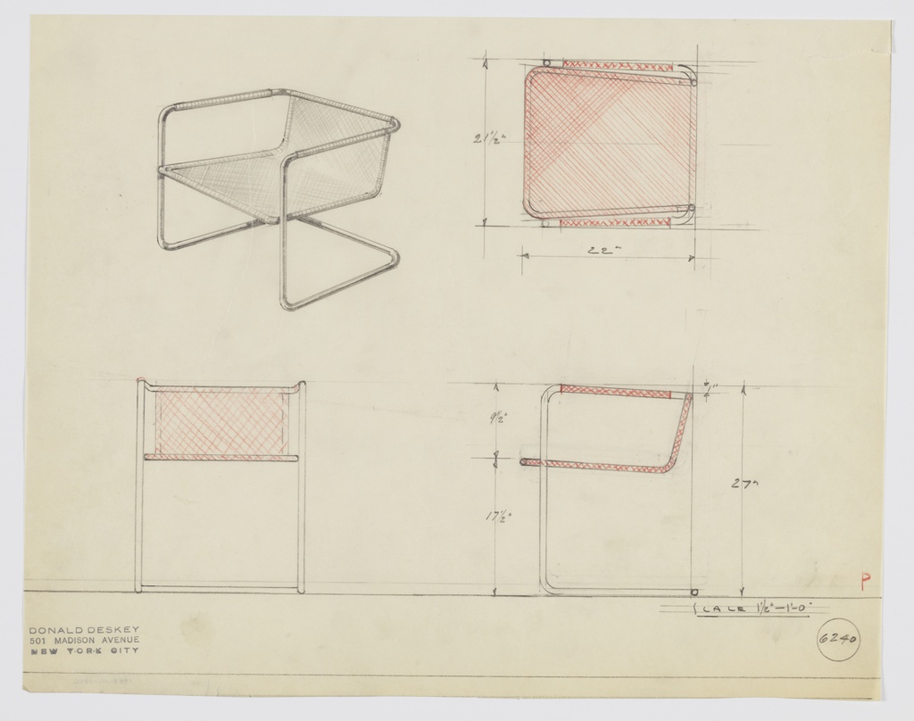 Design for cantilevered armchair seen in perspective, plan, and elevations. Tubular metal frame in overall rectangular format features stabilized front legs that support single piece of slung fabric that comprises seat and low seatback. Arms also wrapped in same material. Inscribed with Deskey No. 6240.