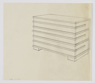Design for chest of drawers shown in perspective. Rectilinear object rests on two parallel rectangular feet. Three slightly recessed drawers outlined and accented at center by trim; center trim provides access to drawer interiors.