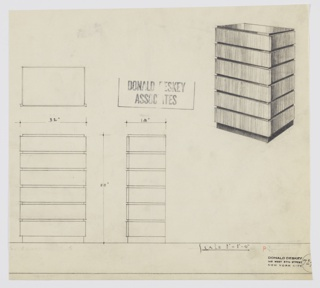 Design for chest of drawers, probably in padauk or walnut with black lacquer (see 1988-101-1819). At upper right, object shown in perspective: rectilinear object features primary volume that is slightly recessed from drawers which appear to wrap the carcass. These are accessed by way of wide drawer fronts which extend outward on either side. Also shown in plan and front and side elevations. Inscribed with Deskey No. 72[??]; remainder cut off.