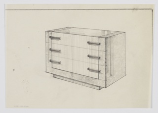 Design for chest of drawers shown in perspective. Rectilinear object standing on recessed base. Three drawers with central panel of lighter, striated wood set into carcass of burl wood; central panel angles over and accents top surface, as well. Drawers accessed by rectangular pulls positioned on either side.