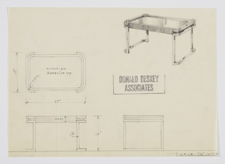 Design for side table, possibly for the Nicotine Room at Radio City Music Hall. At upper right, perspective shows oblong table with rounded corners. Top consists of Bakelite topped by mirror; this is set into wood frame trimmed by rectangular metal tubing on short sides and supported by the same material in form of two bracket-like squares that angle outward below to serve as feet. Also shown in plan and elevations.