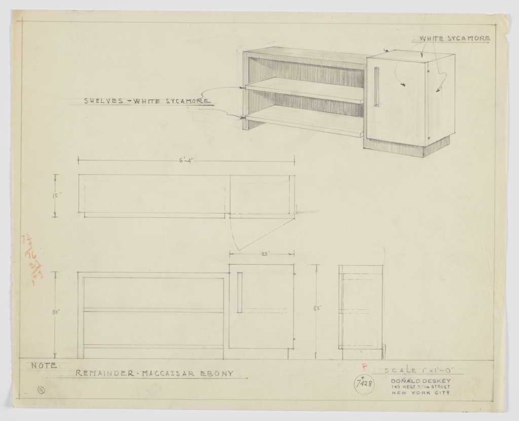 Elevation and plan of a shelving unit.